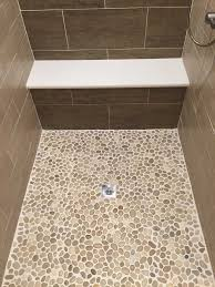 glazed java tan pebble tile shower pan ideas from floor pertaining to impressive 17