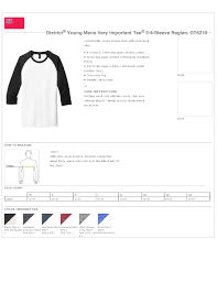 District Very Important Tee Size Chart District Dt6210 Young Mens Very Important Tee 3 4 Sleeve Raglan