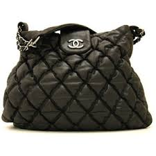 chanel quilted tote. chanel: black bubble quilt tote shoulder bag chanel quilted e