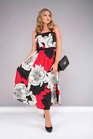 Red Black And White Floral Print Midi Dress Plus Size 16 To 36