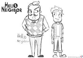 Hello Neighbor Coloring Pages Characters Drawing By Abrilk Free