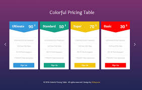 Pricing Table Templates Colorful Pricing Table
