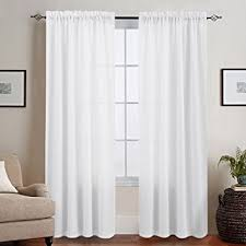 Casual Weave Textured Semi Sheer Curtains for Bedroom, Privacy Rod Pocket  95 Inches Long Thick