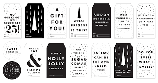 Printable Christmas Tags In Black And White Happy Holidays