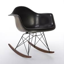 original herman miller black upholstered eames greige rar rocking arm chair