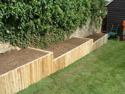 Attractive Wooden Raised Flower Beds Heath Raised Beds Wooden Frame Faced  With Wooden Round Poles