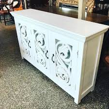 white console cabinet. White Carved Wood Console Cabinet/ Buffet Features Glass Doors Cabinet