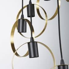 8 socket pendant light in black metal