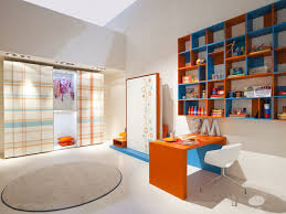 orange office furniture. Cheerful Living Room Design Ideas With White Recessed Ceiling Including Orange And Blue Wall Bookcase Wood Office Desk Image Furniture
