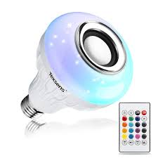 Texsens Led Light Bulb Bluetooth Speaker 6w E26 Rgb Changing Lamp Wireless Stereo Audio With 24 Keys Remote Control