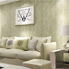 Tree Design Wallpaper Living Room Creative Idea Room Decor With Round Cream Knited Ottoman On