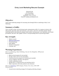 Your Job Search Will Be a Success with Entry Level Marketing Resume Example