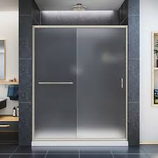 semi frameless sliding shower doors. infinity-z 56-inch to 60-inch x 72-inch semi-frameless sliding shower door in brushed nickel semi frameless doors