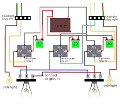 headlights loom wiring diagram sorry it looks a bit complicated its simple really the 3 circuits are essentially the same
