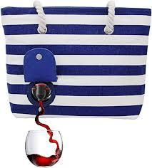 PortoVino Beach Wine Tote (Blue/White) - Beach Bag ... - Amazon.com