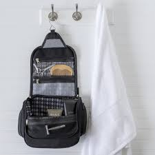 personalized men s waxed canvas and leather hanging toiletry bag com