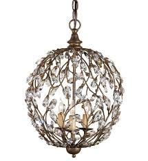 currey company 9652 crystal bud 3 light sphere chandelier with cupertino finish