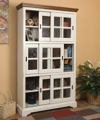 White Wooden Sliding Glass Door Bookcase American HWY