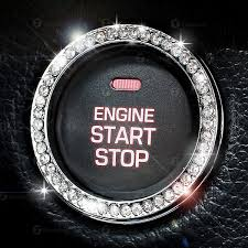 Chrystal Bling Ring Emblem Sticker- Rhinestone Start Engine ...