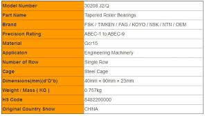 High Speed 30208 J2 Q Single Row Tapered Roller Bearings
