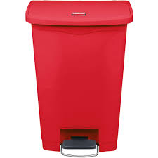 rubbermaid 1883566 slim jim resin red front step on trash can 13 gallon