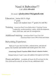 Babysitting Resume Example Infant Nanny Resume New Babysitting Resume Example Examples Of 16