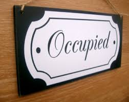 occupied bathroom sign. Occupied / Vacant Double Sided Bathroom Door Sign. ( Toilet Sign, Vintage Sign