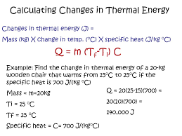 calculating changes in thermal energy