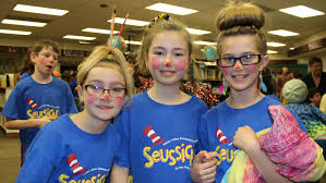 students in makeup for seussical jr