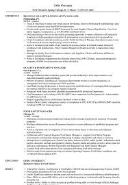 Food Safety Manager Resume Samples Velvet Jobs