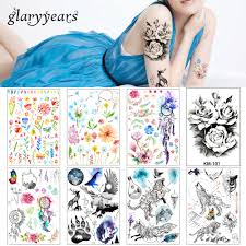 2019 1 лист женский розовый цветочная декаль татуировка Km 101 вода