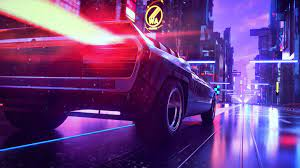Neon City Car Retrowave Digital Art 4K ...