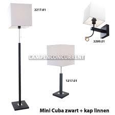 Zwarte Vloerlamp Mini Cuba Met Vierkante Wit Linnen Kap