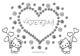 Hart Van Bloemen Kleurplaat Vaderdag Hello Kitty Kleurplaten Voor Jou