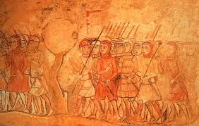 james i of aragon s knights marching to fight the moors fresco 13th century