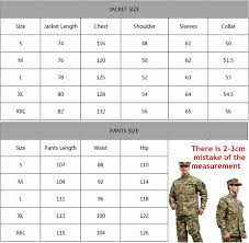 Military Size Chart Us 48 75 50 Off 7 Colors Military Tactical Shirt Pants Multicam Uniforms Camouflage Uniform Military Army Uniform In Hunting Ghillie Suits From