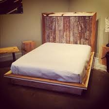 Ace Barn Wooden Unfinished Low Profile Custom Rustic Bed With High Headboard  Also White Mattress Feat Benches As Small Space Traditional Bedroom Decors