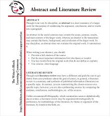 Literature Review Example Apa 9 Literature Review Outline Templates Samples Free