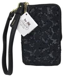 Coach Black Sequin Signature Small Zip Card Phone Wallet