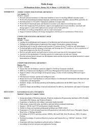 Computer Systems Architect Resume Samples Velvet Jobs