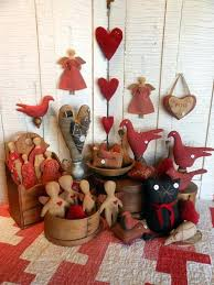 primitive valentine decor pritive heartstrings seeing red country