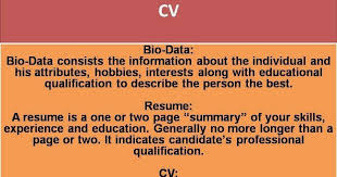 biodata and resume biodata resume and curriculum vitae difference between cv lovely