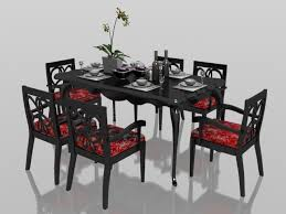 clic 6 seater dining set with tableware 3d model