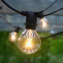25 socket outdoor commercial string light set g40 clear globe bulbs 29 ft black cord w e12 c7 base weatherproof