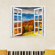 Artificial Window Maple Grove 3d Artificial Window View Pag Wall Decals Hill View