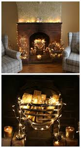 fireplace lighting. fairylights around a real stone fireplace this looks stunning and very cosy lighting