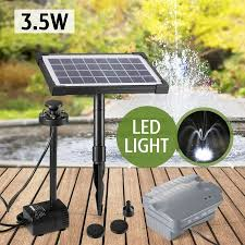 Solar Powered Water Feature With Lights