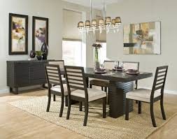 modern dining room decor. Fascinating Modern Black Wood Vernished Dining Room Sets With Ceiling Lamp Painting And Cream Rug Decor