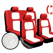 13pc red white diamond stitching universal leather car seat cover set groupon