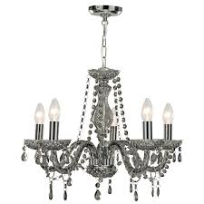 marie therese smoked grey 5 light chandelier with acrylic glass drops